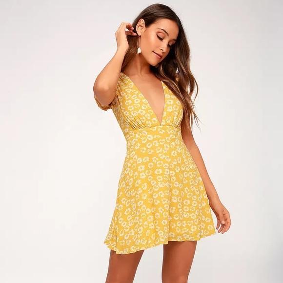 Yellow Floral Print Dress